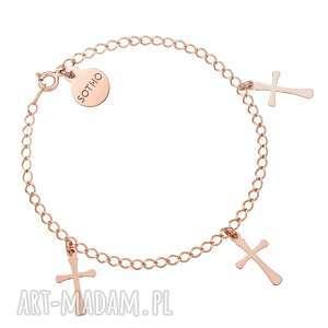 Bransoletka z różowego złota trzema krzyżykami, bransoletka, łańcuszkowa