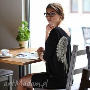 tunika skrzydła black angel - skrzydła, malowanka, aniol, tunika, wiskoza