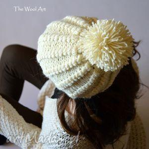 hand-made czapki czapka ecru