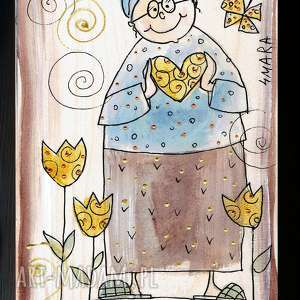 ręcznie wykonane deska ręcznie malowana z sentencją ogród miłości wyrasta w sercu babci
