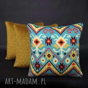 handmade poduszki komplet 3 poduszek mexico musztarda 45x45cm