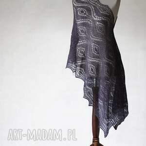 fioletowy szal z babyalpaki - szal, handmade, babyalpaka, knitwearfactory, ażurowy