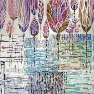 obraz ręcznie malowany - kwiaty, obraz, ręcznie, malowany, akryl, kwiaty