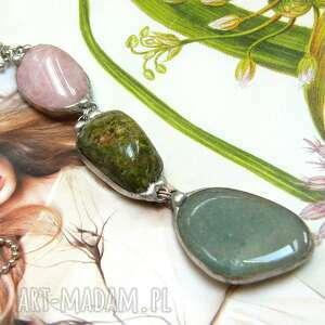 Wisior z łańcuszkiem: pastelowo-zielony wisiorki witrazka długi