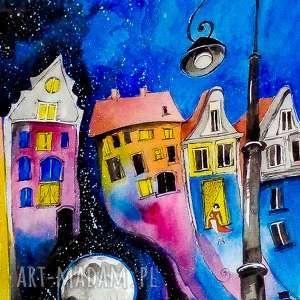 obrazy kiedy księżyc przychodzi w gości akwarela artystki plastyka adriany laube