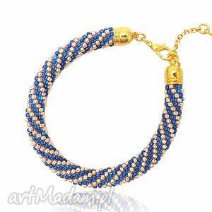 color gold - blue and bransoletka koralikowa, bransoletka