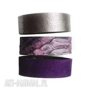 handmade bransoletki komplet trzech bransoletet skóra fiolet boa
