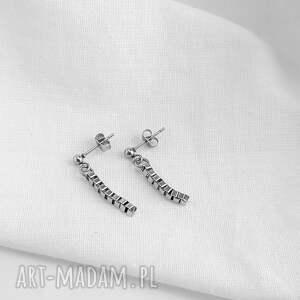 minimalistyczne kolczyki łańcuszki, stal chirurgiczna, stal