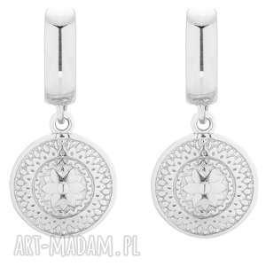 srebrne kolczyki z medalionami - wiszące, eleganckie, medaliony, stylowe