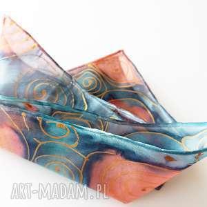 Ręcznie malowana poszetka - turkusy i złoto krawaty malowany