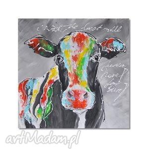 krowa pop-art, nowoczesny obraz ręcznie malowany, krowa, obraz, zwierzęta, pop, art