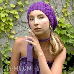 beret ażurowy fioletowy, czapka, beret, ażur, wiosenny, kobiecy, fantazyjny