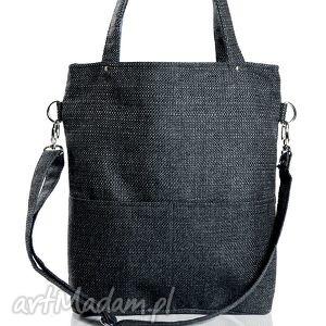 torebki prostokątna torba w kolorze grafitowym z dwoma zewnętrznymi kieszonkami