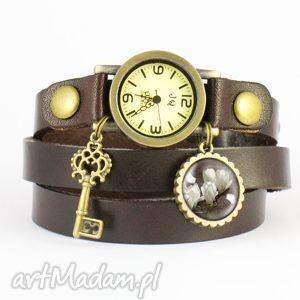 ręczne wykonanie bransoletka, zegarek - magnolia 1 brązowy, skórzany