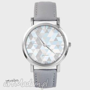handmade zegarki zegarek, bransoletka - geometric pastel - szary, skórzany