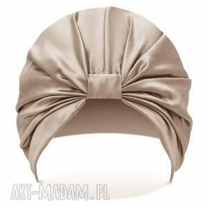 unikalny, jedwabny turban do spania, czapka turban, czepek satynowy