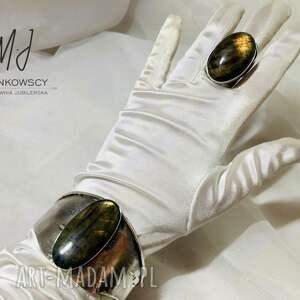 bransoleta wykonana ze srebra z kamieniem labradoryt rękodzieło unikat