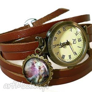 orion nebula - zegarek bransoletka na skórzanym pasku - zawieszką