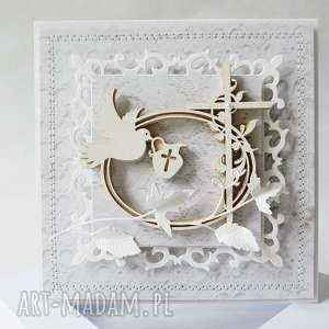 handmade scrapbooking kartki pamiątka chrztu - w pudełku