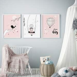 Plakaty skandynawskie dla dziewczynki, zestaw A3, plakaty, dziecko, ozdoba
