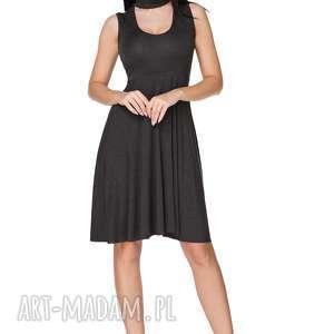 Sukienka rozkloszowana wiązana na szyi grafitowa T237, sukienka,