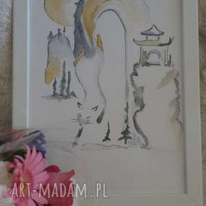 wodny lis - obraz piórem i kawą nakreślony, lis, pagoda, wodospad, japoński, kawa