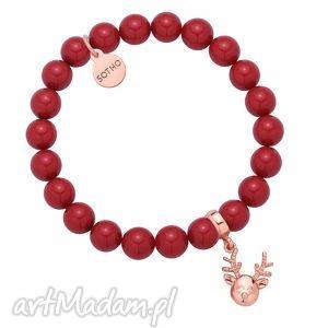 czerwona bransoletka z pereł swarovski crystal reniferkiem różowego złota