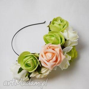 ozdoby do włosów półwianek różany, kwiaty, wianek, róże, opaska