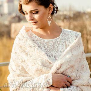 ręcznie zrobione ślub szal ślubny beżowy