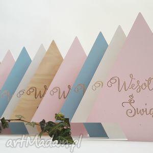drewniana choinka różowa - choinka, dom, ozdoby, dekoracje, święta