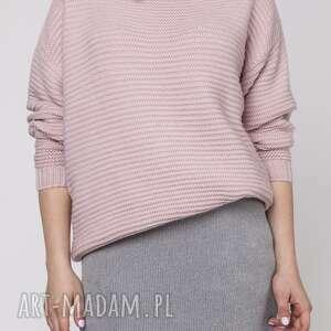 oversizeowy sweter z fakturą, swe125 róż, ciepły, elegancki, luźny, faktura