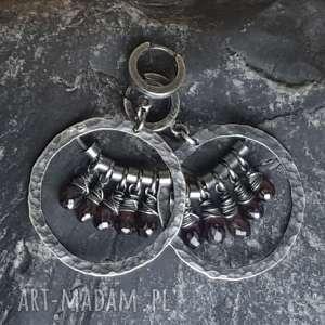 kolczyki srebrne z granatami, srebro, granat fasetowany, koła