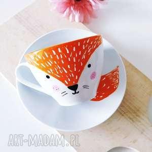 Ręcznie malowana filiżanka lis kubki muki design z lisem, lis