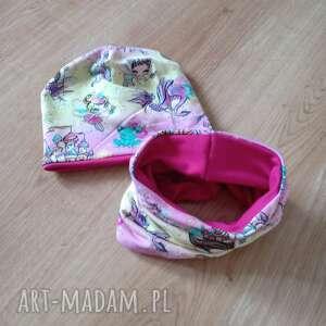 molicka dziewczęcy komplet czapka i komin wróżki jednorożce, dresowka