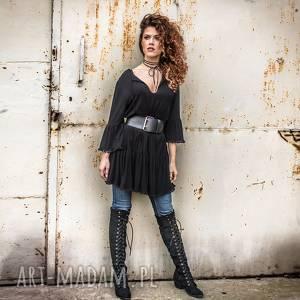 Luźna sukienka z pomponami, pompony, elastyczna