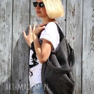 handmade torebki torba w kształcie worka z grubej plecionki na ramię lub skos