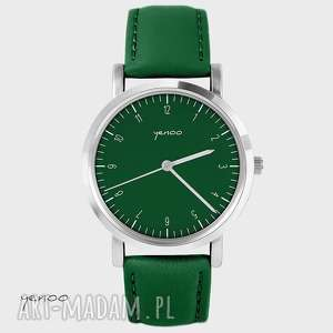 zegarki zegarek - simple elegance skórzany, zielony, zegarek, bransoletka