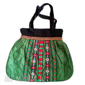 torebka damska retro zielona handmade, ludowa, folkowa, etno, boho, kolorowa