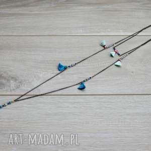 podwójny naszyjnik kaskadowy - łańcuszki, boho, kaskadowy, naszyjnik, chwosty