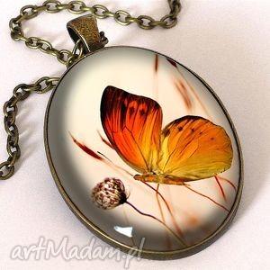 Prezent Motyl - owalny medalion z łańcuszkiem, motyl, romantyczny, owalny,