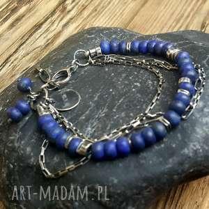 bransoletka ze srebra i lapisu lazuli, srebrna, lapis srebro