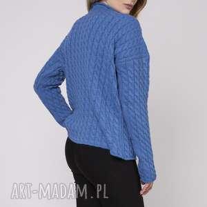 Półgolf, SWE157 niebieski MKM, luźny, wzór, jesień, dzianinowy, dzianina,
