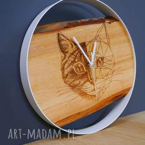 zegary nowość zegar ścienny kot, drewno metal, grawer, ścienny, kot