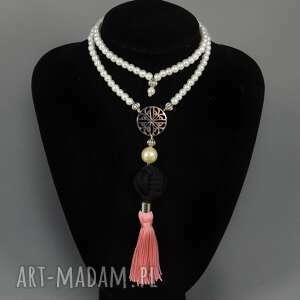Kolia naszyjnik Patricia pink - kolia, perły, chwosty, elegancka, korale