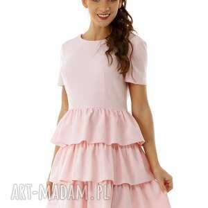 Sukienka z trzema falbankami różowa 019 sukienki ella dora
