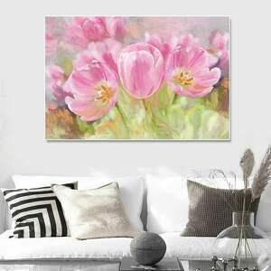 tulipany obraz na płótnie, 120 x 80 namalowany ręcznie w technice digital