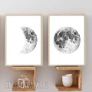 Zestaw 2 prac A3, księżyc, moon, fwiazdy, plakat, ilustracja, obraz