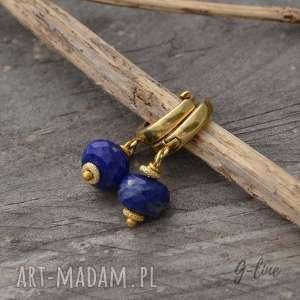 srebrne pozłacane kolczyki z lapis lazuli, srebro, lazuli, pozłacane