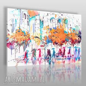 Obraz na płótnie - LUDZIE MIASTO KOLOROWY 120x80 cm (79101), ludzie, parasole