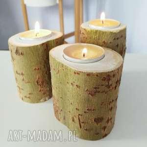 zestaw 3 świeczniki drewniane - ,świecznik,świeczniki,zestaw,eko,skandynawskie,drewno,